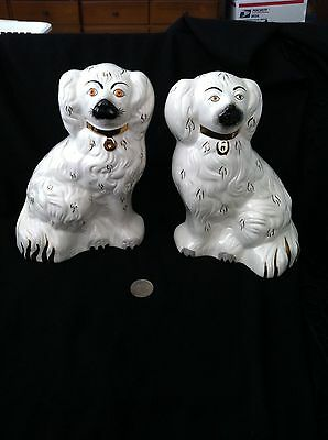 Staffordshire Style  Beswick Porcelain Dogs White 7 1/2 inches