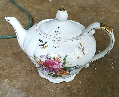 Vintage Tilso Hand Painted Porcelain Musical Tea for Two Teapot Made in Japan
