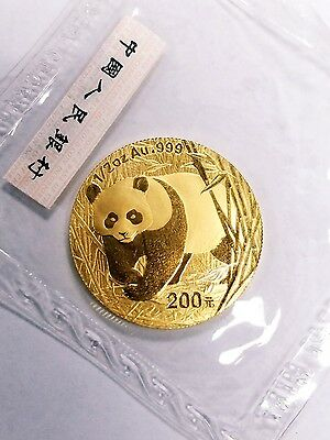 RARE Mint Sealed 2002 China 1/2 oz. Gold Panda 200 Yuan Coin, Gem Uncirculated