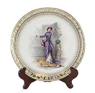 Minton Retailed by Gilman Collarmore Porcelain Cabinet Plate, c.1880. Lady & Cat