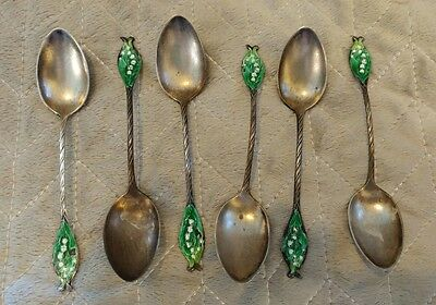 """Antique Gorham Sterling Silver 4"""" Coffee Spoons Lily Of The Vally Set Of 6"""