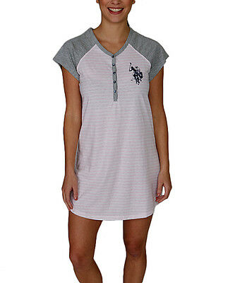 U.S. Polo Assn. Women's V-Neck Nightshirt With Five Button Placket Stripe NWT