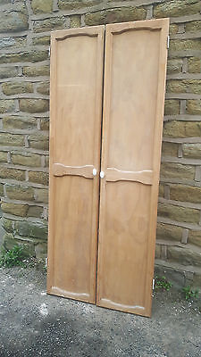 Large Tall Pair of Vintage Antique Stripped Pine Wooden Cupboard Pantry Doors