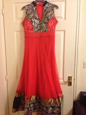 Coral And Black Ladies Anarkali Suit XL