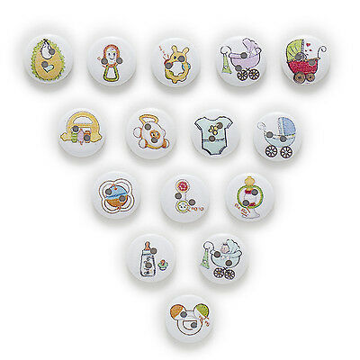 50pcs Baby 2 Hole Round Wood Buttons Sewing Scrapbooking Decor Home 15mm