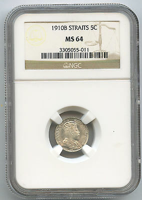 1910 B Straits Settlements Silver 5c NGC MS 64 Bright KM 20a