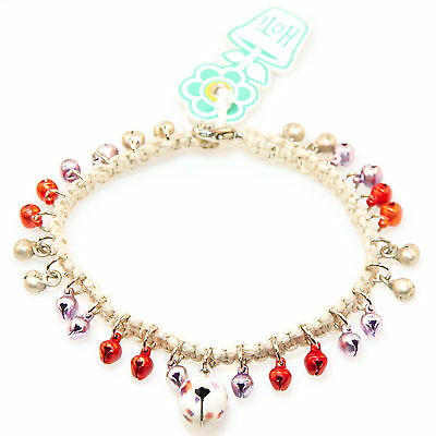 HOTI Hemp Handmade White Silver Red Purple Bells Jingle Anklet Ankle Bracelet