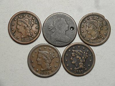 Lot of Five Large Cents, One 1802, Circulated Old U. S. Type Coins  1213-03