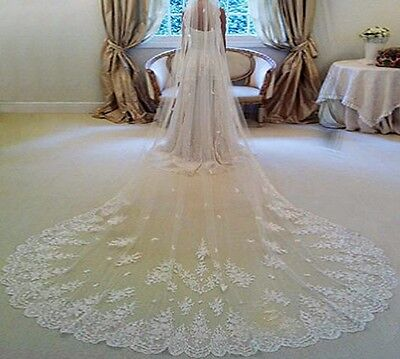 US Stock 1 Tier Bridal Veil Lace Edge Cathedral Length White/Ivory Comb Sewn on