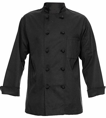 350 Chef Apparel 10 Knot Button Chef Coat Easy Care Twill Black Size Large New