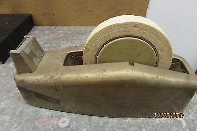 Vtg Heavy  Steel Tape Dispenser Holder Gold Industrial Age Desk MCM