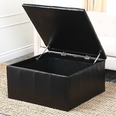 Abbyson Living Broadway Leather Storage Cocktail Ottoman FREE SHIPPING