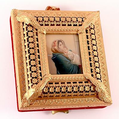 Antique Hand Painted Portrait With Reuge Miniature Music Box Gold Tone Filigree