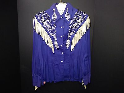 50's Vintage Ranch-Maid Women's Western Wear Fringed Snap Shirt Womens Size 14