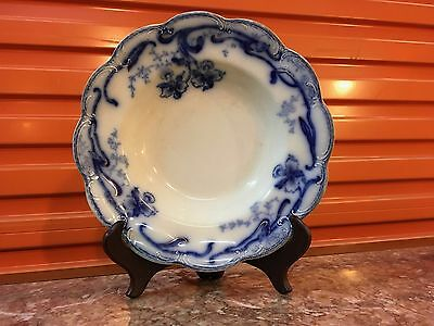 Antique English Johnson Bros Del-Monte Flow Blue Dinner Plate Bowl Scalloped Rim