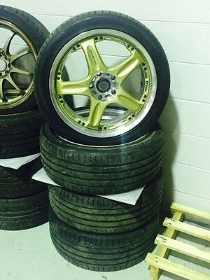 RAYS VOLK GT-C GTC Gold 18x8+42 Offset 5x114.3 5 Stud set with tyres