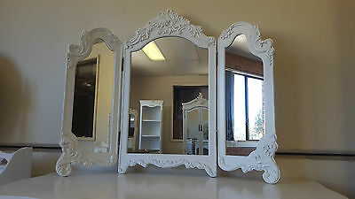 New French Provincial Mini Tri-Fold Dressing Mirror Boutique Chic