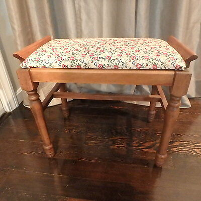 Antique Vintage 1930's Walnut Stool Bench with Upholstered Seat