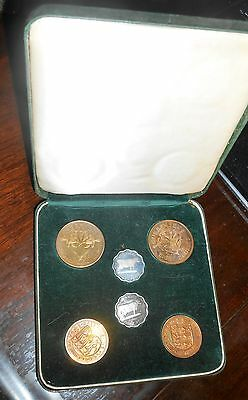 Nice Guernsey 1956 Double Proof Coin Set Great Britain