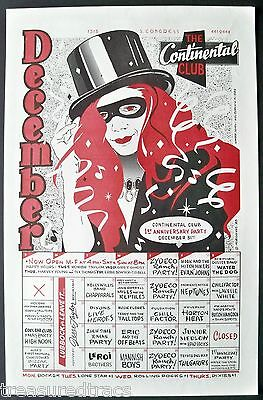 1988 Continental Club Poster Narum Calendar Horton Heat Kelly Willis Tailgators