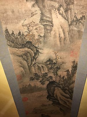 """CHINESE HANGING SCROLL """"Ming Landscape Scenery and Calligraphy"""""""
