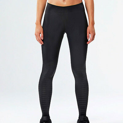 2XU Elite Recovery Womens Black Compression Running Long Tights Bottoms Pants