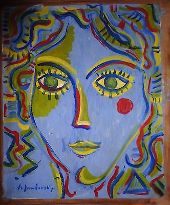 Vintage Abstract Painting Signed Jawlensky,  Modern Old 20th Century Art