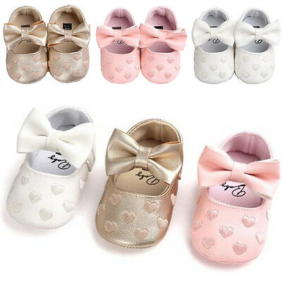 USA Newborn Toddler Girl Crib Shoes Baby Bowknot Soft Sole Prewalker Sneakers