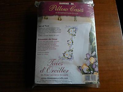 S6  Stamped Pair Hemmed Pillowcases  Stamped for Embroidery RIBBON & DAISIES