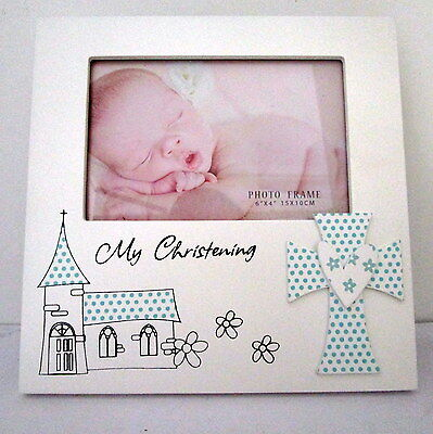 "Baby Boy Keepsake ""my Christening"" Timber Photo Frame Baby Shower Newborn Gift"