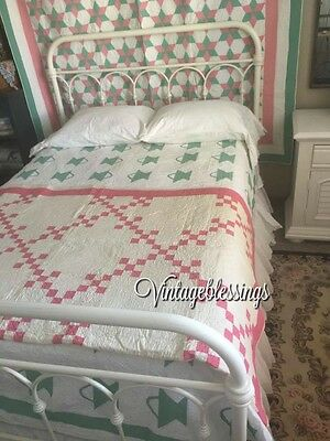 Never Washed VINTAGE 20-40s Postage Stamp Pink & White QUILT  Cottage Home