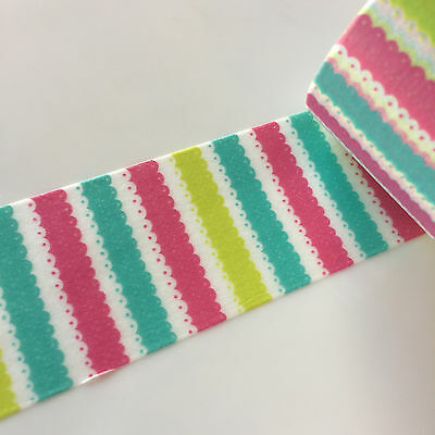 Washi Tape Wide Lacy Knit Pink Green Lime 30Mm X 5Mtrs Craft Wrap Plan Scrap