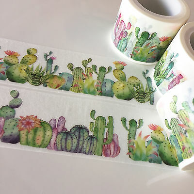 Washi Tape Wide Cactus Garden Succulent 30Mm X 5Mtrs Craft Wrap Plan Scrap