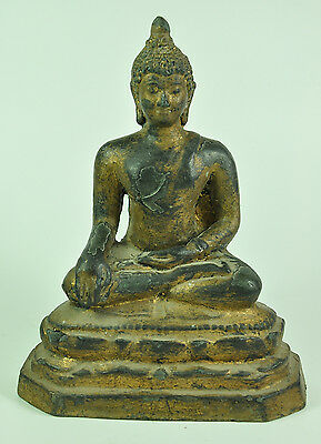 Antique Phra Shakyamuni AYUTTHAYA PERIOD Thai Gilt Bronze Buddha Figure Statue