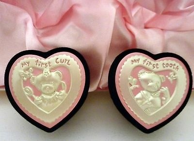 """Baby Girl  Keepsake """"first Curl & First Tooth"""" Set In Pink Satin Lined Gift Box"""