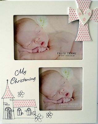 "Baby Girl Keepsake ""my Christening"" Timber Photo Frame Baby Shower, Newborn Gift"
