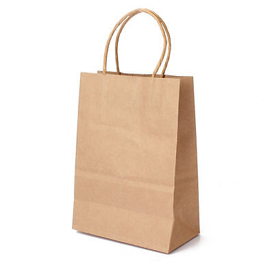 100 Pc 5.25x3.8x8 Small Brown Kraft Paper Shopping  Bags with Handle Gift Bags