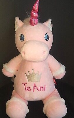 Unicorn personalised soft toy for newborn baby gift birthday or baby shower
