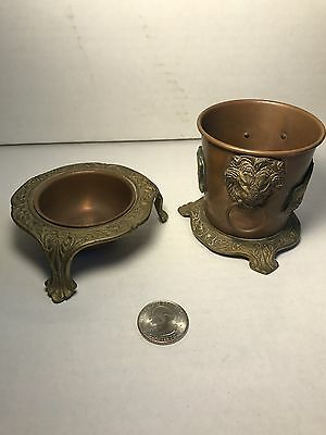 Antique Vintage Copper Brass Small Goblet Cup Dish Ornate Brass Lion Head