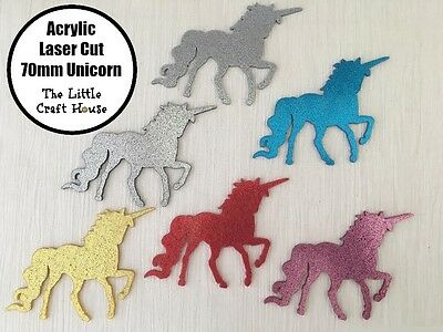 Acrylic Laser Cut Coloured Unicorn Shape 70mm Shapes Glitter Horse Craft Colour