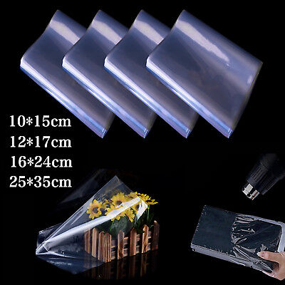 100X Multi-size Transparent Shrink Wrap Film Heat Seal Bag Pouch Gift Packing UK