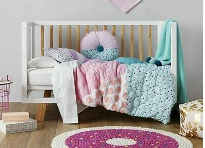 ADAIRS KIDS Zalia teal pink cute COT (JUNIOR BED) QUILTED Quilt COVER SET BNiP