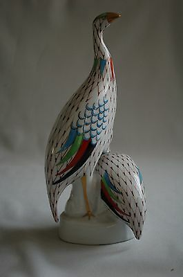 Hollohaza Hungary Hand Painted Fishnet Pattern  Guinea Fowl Bird & Chick