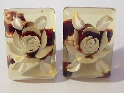 Large Vintage Reverse Carved Lucite Clip On Earrings