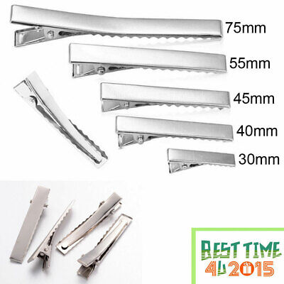 10 50 100XSmall Medium Lot Silver Crocodile Alligator Bow Blank Hair Clips UK