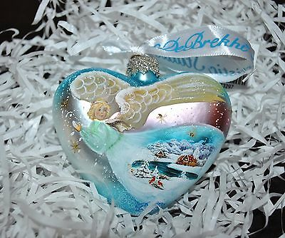 New DeBrekht ANGEL Heart Scenic Glass Ornament Village Birds