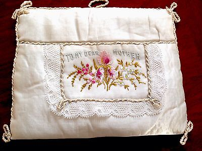 "Antique Hand Embroidery Cream Silk  Handkerchief Bag Holder"" To My Dear Mother """