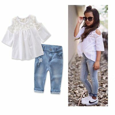 2Pcs Toddler Baby Girls Kids Lace T-shirt Tops Denim Pants Clothes Outfits Set