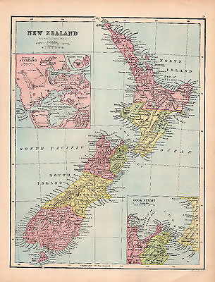Map of New Zealand Large Bartholomew 1880 Original Antique