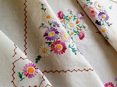 Vintage Hand Embroidered  Cream Cotton Tablecloth 41X44 Inches
